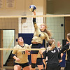 Greenbrier West's Kenzie O'Dell (6) blocks an attempt by Greater Beckley Christian's players during the Class A Region 3 Section 2 volleyball tournament at Greenbrier West Tuesday. (Jenny Harnish/The Register-Herald)