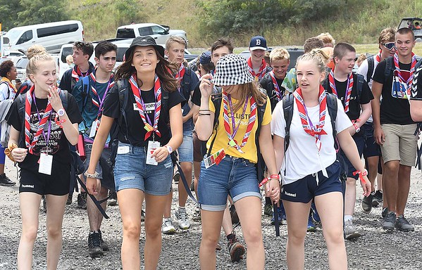 Scouts heading to different activities during the World Scout Jamboree at the Summit Bechtel Reserve in Glen Jean.