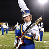 (Brad Davis/The Register-Herald) Shady Spring band member Eli Bennett plays the bass as the Tiger marching band performs their halftime show Friday night in Shady Spring.