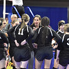 (Brad Davis/The Register-Herald) Greater Beckley Christian head coach Tracie Fisher instructs her team during a timeout against Wirt at the State Volleyball Tournament Friday morning at the Charleston Civic Center.
