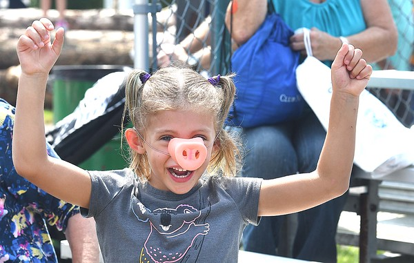 Charlotte Helmick, 5, of Horner, cheers during the Swifty Swine Pig Racing held at the State  Fair in Fairlea Friday afternoon.<br /> (Rick Barbero/The Register-Herald)