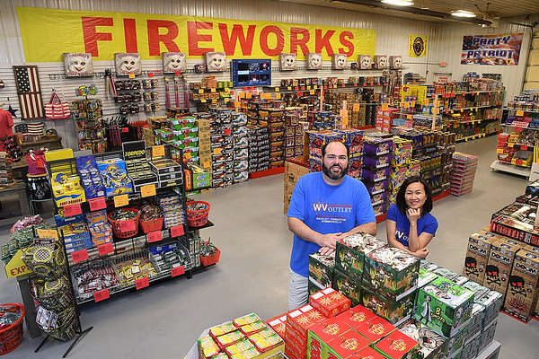 Lance and Emily Bush, owners of WV Fireworks Outlet in Crab Orchard<br /> (Rick Barbero/The Register-Herald)