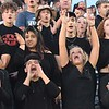 Independence student section cheering on their tean against Shady Spring at Independence High School<br /> (Rick Barbero/The Register-Herald)