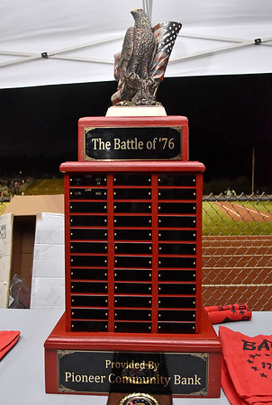 """(Brad Davis/The Register-Herald) The """"Battle of '76"""" trophy sits ready to be collected by this year's winner between Liberty and Indy Friday night in Glen Daniel."""