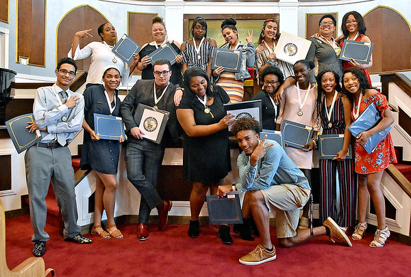 (Brad Davis/The Register-Herald) This year's BEAUTY honorees strike fun poses as they get together for a group shot at the conclusion of the Graduate Celebration and Awards ceremony Saturday afternoon at Central Baptist Church.