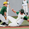Ross Mulhall, of WV Miner, slides save under the tag at third against, Billy Mote, of Normal CornBelters, Tuesday evening at Linda K. Epling Stadium in Beckley.<br /> (Rick Barbero/The Register-Herald)