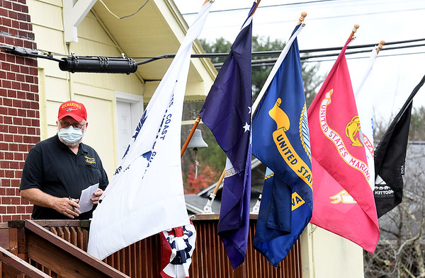 Glen Smith, chairman of the board, Raleigh County Veterans Museum, speaks during the Raleigh County Veterans Museum 7th annual Healing Fields Ceremony held at the museum off of Harper Road in Beckley Wednesday afternoon.<br /> (Rick Barbero/The Register-Herald)