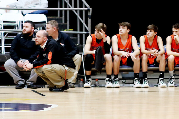 Summers County coach Robert Bowling looks on during the first half of their Big Atlantic Classic basketball game against Pendleton County  in Beckley on Tuesday. (Chris Jackson/The Register-Herald)