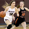 (Brad Davis/The Register-Herald) Woodrow Wilson's Cloey Frantz moves up the court as South Charleston's Maggie Britt defends Wednesday night in Beckley.