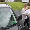 Matt and Jenna Roop, held a drive-through birthday party for their one year old daughter, Charlee, because of COVID-19 in their driveway off of Grandview Road in Beaver Saturday afternoon. <br /> (Rick Barbero/The Register-Herald)