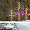 Crosses were on display during the Calvary Assembly of God Church service Sunday morning to celebrate the Easter holiday with the congregations listening on the radio inside their vehicles due to the  COVID-19 pandemic. <br /> (Rick Barbero/The Register-Herald)