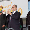 Greenbrier County Superintendent Jeff Bryant plays the National Anthem at the 2020 Greenbrier East High School graduation ceremonies on Saturday. Over 250 graduates were honored including Mykala Cheyanne Phillips, who lost her life in the 2016 floods. <br /> (Christian Giggenbach/for The Register-Herald)