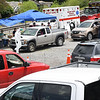 People line up in their vehicles to get tested for COVID-19 outside the Mount Hope Fire Department Tuesday afternoon. This is a three day event the Fayette County Health Department is offering to help increase more testing. Everyone who got tested received a free pizza. Another testing site will be active Wednesday at Kilsyth Freewill Baptist Church from 12 p.m. to 2 p.m.  and Thursday at, Oak Hill High School freom. 3 p.m. to 7 p.m.<br /> (Rick Barbero/THe Register-Herald)