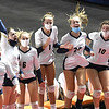 Shady Spring bench celebrates scoring a point against Phillips Barbour in the Class AA championship match of the girls volleyball tournament in Charleston Friday even held at the Charleston Civic Center. Shady won the Championship 3-0<br /> (Rick Barbero/The Register-Herald)