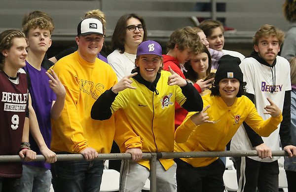 (Brad Davis/The Register-Herald) Woodrow students wear purple, gold and anything they could find or create in short order to honor Kobe Bryant during Big Atlantic Classic action Friday at the Beckley-Raleigh County Convention Center.