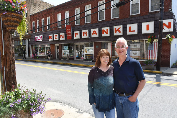 Donna and Mike Rahall, owners of the Ben Franklin store in Fayetteville.<br /> Rick Barbero/The Register-Herald)