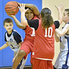 (Brad Davis/The Register-Herald) Beckley YMCA All-Stars' Isaac Acheampong (holding ball) looks to pass to an open teammate as he's pressured by Shady Elite 3's Carson Eifel, left, and Braylon Redmon during 3rd Grade Roundball Classic game action Friday afternoon at Memorial Baptist Church. Shady Elite won the game 27-12.