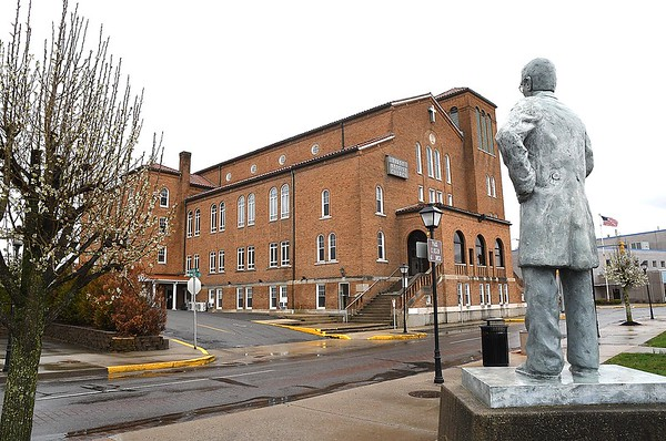View of the First Baptist Church from behind the Alfred Beckley statue on Neville Street in Beckley. During the deadly Spanish influenza pandemic of 1918-19, a special flu hospital operated in the basement of the church.<br /> (Rick Barbero/The Register-Herald)