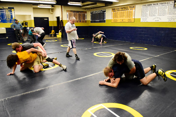 Shady Spring wrestling practice in Shady Spring on Wednesday. (Chris Jackson/The Register-Herald)