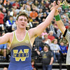 (Brad Davis/The Register-Herald) Greenbrier West's Noah Brown is declared the winner after defeating Sissonville's Gavin Shamblin for the 220-pound championship Saturday night at the 73rd Annual State Wrestling Tournament in Huntington.