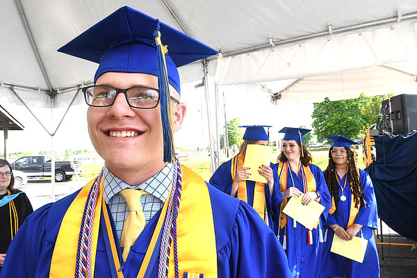 John Parks waits to make a speech during Greenbrier West High School graduation ceremony Friday evening  held at the State Fair of West Virginia's free parking lot in Fairlea. <br /> (Rick Barbero/The Register-Herald)