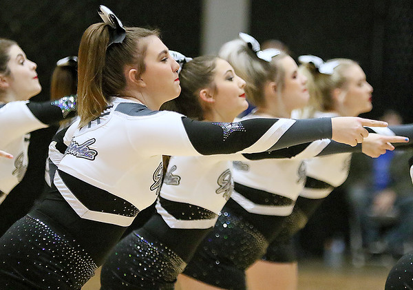 (Brad Davis/The Register-Herald) Westside cheerleaders perform a routine during a break in their girls high school basketball game against cross-county rival Wyoming East in the New River Community and Technical College Shootout Friday afternoon at the Beckley-Raleigh County Convention Center.