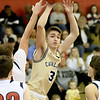 (Brad Davis/The Register-Herald) Greenbrier West's Kaiden Pack pulls up for a jump shot as Independence's Josh Perry defends Thursday night in Coal City.