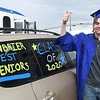 Andrew Sawyer gives the thumbs up during Greenbrier West High School graduation ceremony Friday evening  held at the State Fair of West Virginia's free parking lot in Fairlea. <br /> (Rick Barbero/The Register-Herald)