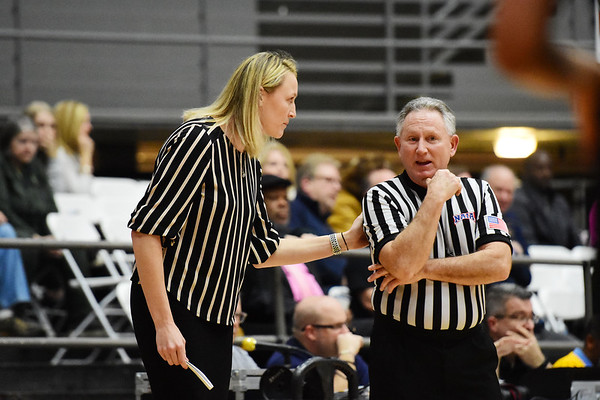 WVu Tech Women's Head Coach Anna Kowalska speaks to an offical during their River State Confernece quarterfinal game in Beckley on Wednesday. (Chris Jackson/The Register-Herald)