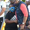 Idresse Patterson, 9 with his grandmother Judy Patterson, pray at the Heart of God Ministries Church on South Kanawha Street during a prayer vigil over the death of George Floyd, the Minneapolis man who was killed by a police officer Monday.<br /> (Rick Barbero/The Register-Herald)