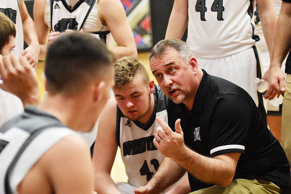 Westside head coach Shawn Jenkins during the first half of their basketball game against Wyoming East in Clear Fork on Tuesday. (Chris Jackson/The Register-Herald)