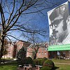 Jeff Nathan's was the sports editor of the Parthenon and died when the Marshall plane crashed fifth years ago. Nathan's  picture is dispalyed on a lamp post near the Marshall Memorial Fountain in Huntington. <br /> (Rick Barbero/The Register-Herald)