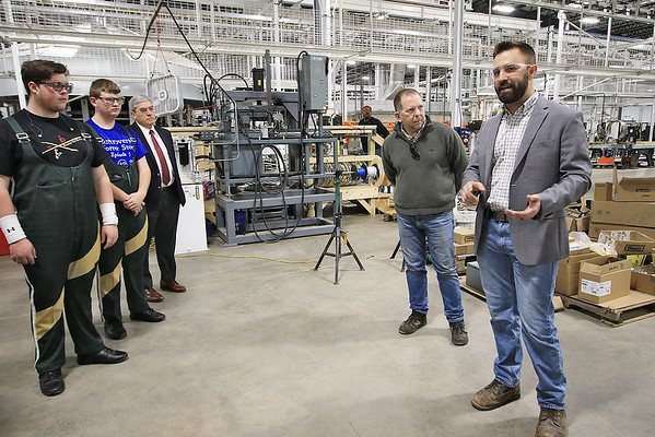General Manager Brett Wolfington gives a tour of the West Virginia Great Barrel Company in Caldwell Monday. The first truckload of 53-gallon whiskey barrels made their way from the company and were delivered to Smooth Ambler Spirits Monday. (Jenny Harnish/The Register-Herald)