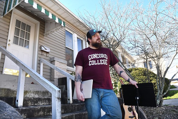 Matt Mullins, of Beckley, with the Bringdowns band, is now live streaming music until the coronavirus crisis clears up. (Rick Barbero/The Register-Herald)
