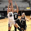 Woodrow Wilson girls vs Wesrtside, during the second annual New River CTC Invitational held at the Beckley Raleigh County Convention Center. Woodrow won 60-35.<br /> (Rick Barbero/The Register-Herald)