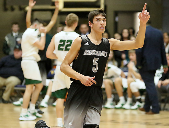 (Brad Davis/The Register-Herald) Westside's Ethan Blackburn reacts as time runs out on another chapter in the battle for Wyoming County as the Renegades defeated rival Wyoming East during the New River Community and Technical College Shootout Saturday at the Beckley-Raleigh County Convention Center.
