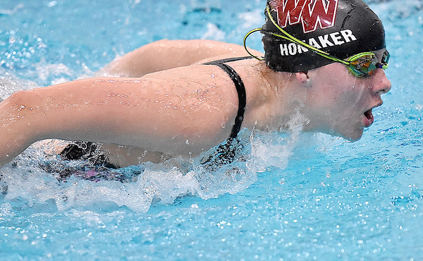 (Brad Davis/The Register-Herald) Woodrow Wilson's Eden Honaker works during Flying Eagles swimming practice Friday afternoon at the YMCA of Southern West Virginia.