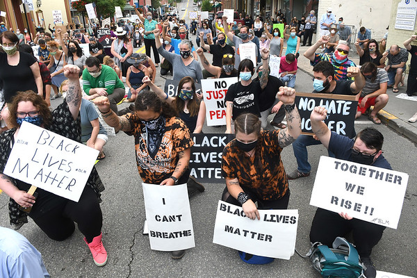 """Large crowd of protestors took a knee for nine minutes on Washington Street in Lewisburg chanting, """"George Floyd I can't breath."""" They were Protesting against racism and police brutality.<br /> (Rick Barbero/The Register-Herald)"""
