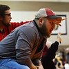 Liberty coaches yells at their team at the West Virginia Army National Guard Duals in Summersville on Friday. (Chris Jackson/The Register-Herald)
