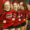 (Brad Davis/The Register-Herald) Oak Hill cheerleaders pull for their classmates on the court against Wyoming East Thursday night in Oak Hill.