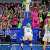 (Brad Davis/The Register-Herald) Westside's Clear Fork Crazies do their best to distract Winfield free throw shooter Emily Hudson during Girls State Basketball Tournament action Wednesday afternoon in Charleston.