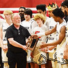 Greater Beckley receive their trophy following their win over Webster County during their Class A Region 3 Conference Final Game in Beckley on Wednesday. (Chris Jackson/The Register-Herald)