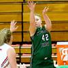 (Brad Davis/The Register-Herald) Wyoming East's Hannah Blankenship shoots from three-point range as Oak Hill's Savannah Holbrook defends Thursday night in Oak Hill.