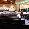 John Jordan, pastor of Calvary Assembly of God Church on Sunset Drive in Beckley walks through his empty church that he had to closed down temporary because of COVID-19.<br /> (Rick Barbero/The Register-Herald)