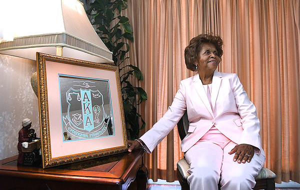 Sheilah Brown, retired school teacher of Beckley, is a member of Alpha Kappa Alpha Sorority that was founded in 1908. Vice President elect Kamala Harris is in the same sorority.<br /> (Rick Barbero/The Register-Herald)