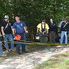 Rescue team preparing to tie down some ropes for repellers to locate a 43 year old lady who apparently fell off the overlook at Grandview National Park.<br /> (Rick Barbero/The Register-Herald)