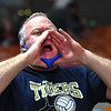 Shady Spring fan cheering for his team against Phillips Barbour in the Class AA championship match of the girls volleyball tournament in Charleston Friday even held at the Charleston Civic Center. Shady won the Championship 3-0<br /> (Rick Barbero/The Register-Herald)