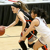 (Brad Davis/The Register-Herald) Summers County's Taylor Isaac drives up the court as George Washington's Vivian Ho defends during Big Atlantic Classic action Wednesday night at the Beckley-Raleigh County Convention Center.