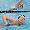 (Brad Davis/The Register-Herald) Woodrow Wilson swimmers McKinzi Crowell, near, and Gillian Breeden work through a team practice Friday afternoon at the YMCA of Southern West Virginia.