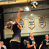 Greenrier Easts #4 Nutter  smashes the ball while team looks on.<br /> T. Paige Dalporto/for the Register-Herald